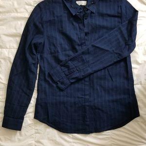 Loft navy jewel collar button down shirt